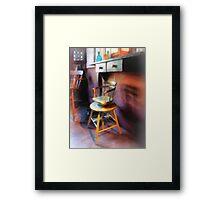 Vintage Child's Barber Chair Framed Print