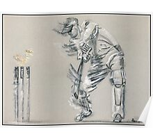 Bowled - cricket batting sketch Poster