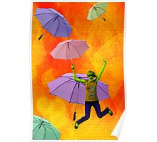 Raining Umbrellas Poster