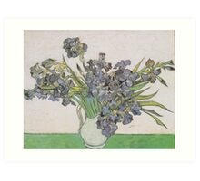 Vase with Violet Irises Against a Pink Background by Vincent van Gogh Art Print