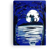 Yowling in the light of the Moon,,  watercolor Canvas Print
