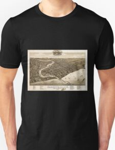 Panoramic Maps View of the city of Oconomowoc Wis Waukesha County 1885 Unisex T-Shirt