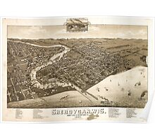 Panoramic Maps View of the city of Oconomowoc Wis Waukesha County 1885 Poster