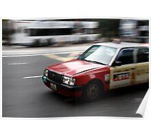 Speeding Taxi Cab Poster