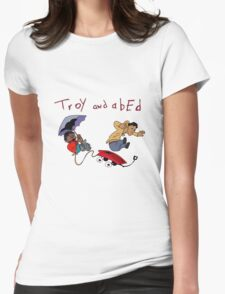Troy and Abed Falling Womens Fitted T-Shirt