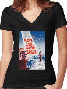 B Movie: Plan 9 from Outer Space Women's Fitted V-Neck T-Shirt