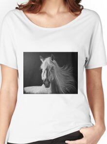 """""""A White Beauty"""" - Lusitano stallion Women's Relaxed Fit T-Shirt"""