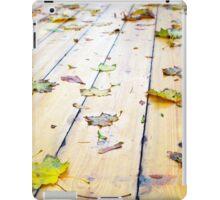Selective focus on wet fallen autumn maple leaves closeup iPad Case/Skin
