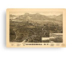 Panoramic Maps Ticonderoga NY Canvas Print