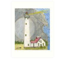 New Presque Isle Lighthouse MI Nautical Chart Peek Art Print