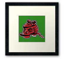 Red Ribbon Skull Framed Print