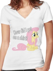 Fluttershy out of place Women's Fitted V-Neck T-Shirt