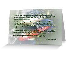 Genesis 1 20-23 And God said, Let the waters bring forth abundantly Greeting Card