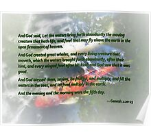 Genesis 1 20-23 And God said, Let the waters bring forth abundantly Poster