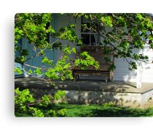 Amish Porch Through Blooming Branches Canvas Print