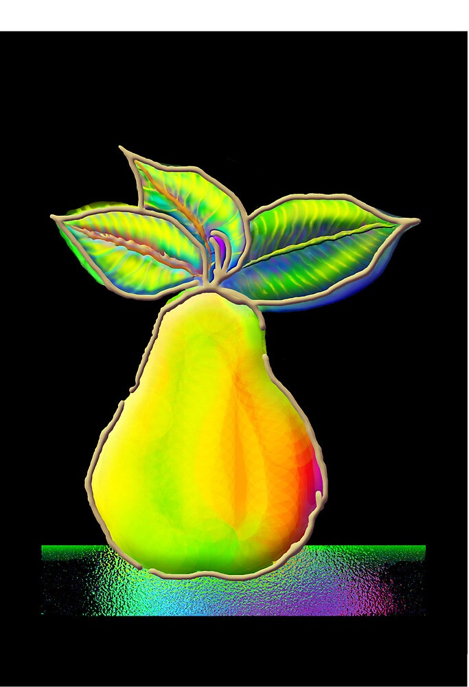 'Fauvist Pear' Greeting Card  by luvapples downunder/ Norval Arbogast