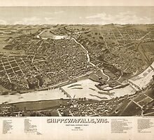 Panoramic Maps Chippewa-Falls Wis county-seat of Chippewa-County 1886 by wetdryvac