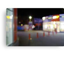 Night urban scene with blurred lights Canvas Print