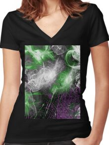 Celestial Explosion 2 Women's Fitted V-Neck T-Shirt