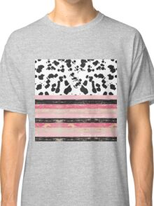 Black & Pink Rustic Wood & Paint Splatter Classic T-Shirt