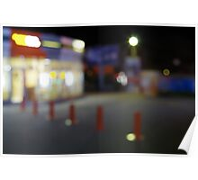 Defocused night urban scene with blurred lights Poster