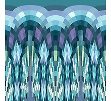 Teal Pixel Waves Photographic Print