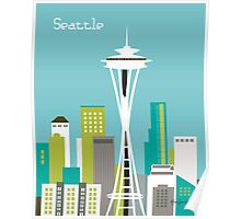 Seattle, Washington - Skyline Illustration by Loose Petals Poster