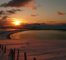 Minn beach in snow by Redbarron