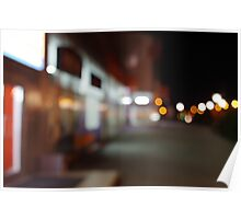 Night urban scene with diffuse lighting shop windows Poster