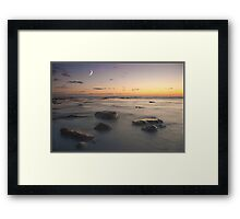 Moonset at Compton Bay Framed Print