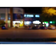 Night urban scene with blurred lights and the shopping center Photographic Print