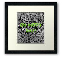 Oh happy day! on swirls green - OneMandalaAday Framed Print