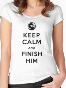 Keep Calm and Finish Him (clean version light colors) Women's Fitted Scoop T-Shirt