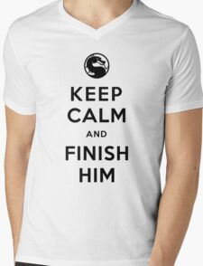 Keep Calm and Finish Him (clean version light colors) Mens V-Neck T-Shirt