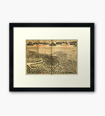 Panoramic Maps View of the city of Stockton the Manufacturing City of California 002 Framed Print