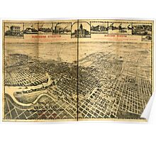 Panoramic Maps View of the city of Stockton the Manufacturing City of California 002 Poster