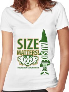 Musky Size Matters Women's Fitted V-Neck T-Shirt