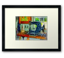 Sewing Machine in Harness Room Framed Print