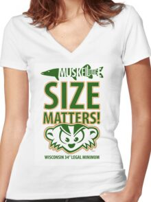 Musky Size Matters Three Women's Fitted V-Neck T-Shirt