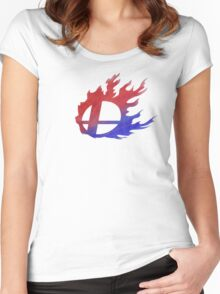 Smash Bros Flames Women's Fitted Scoop T-Shirt