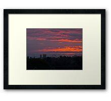 The new York skyline at sunrise, England Framed Print
