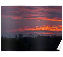 The new York skyline at sunrise, England Poster