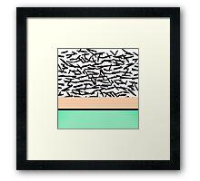 Modern Abstract Mint, Orange, & Brushstrokes Framed Print