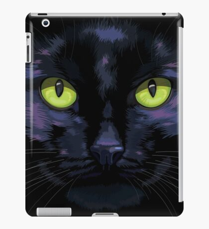 Black cat with green eyes iPad Case/Skin