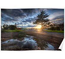 Sunset & Puddle Reflections  Poster