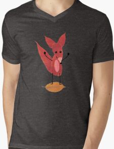 Fox Made of Leaves Mens V-Neck T-Shirt