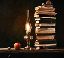 Stillife with lamp and books by karrr
