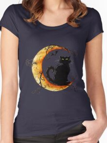 The cat and the moon. Women's Fitted Scoop T-Shirt