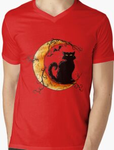The cat and the moon. Mens V-Neck T-Shirt