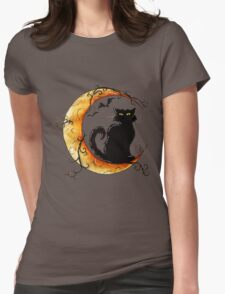 The cat and the moon. Womens Fitted T-Shirt
